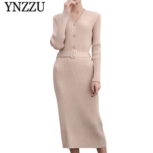 YNZZU 2019 Autumn Winter Solid V-neck women knitted dress Buttons long sleeve elegant female knee-length New fashion YT268