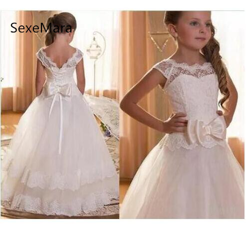 купить New White Lace Ball Gown Flower Girls Dresses For Wedding with Bow Capped Sleeves First Communion Dress Size 2-16Y онлайн