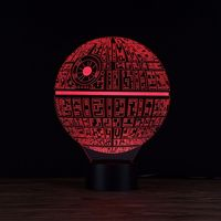 3D Nightlight Night Light Agm Star Wars Death Star Led 3D Night Lamp With 7 Assorted