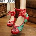 Горячий Продавать 2016 Женщин Вскользь Плюс Размер Квартиры Цветочные Босоножки Льна Обувь Девушку Вышитые Китайский Стиль Ткань Ходьбе обувь