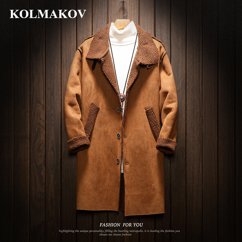 2019 New Men's Clothing Fashion Mens Long Windbreakers Mans Cashmere Liner   Trench   Coats Mans Outerwear Warm Coats Men Size M-5XL