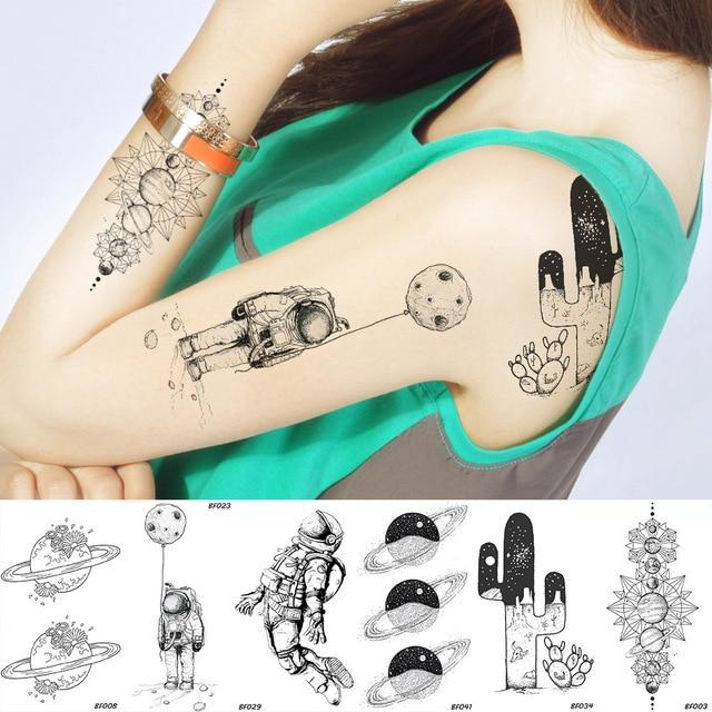 Временные тату с космическим человеком Вселенная космонавт планеты водостойкие черные тату пустыня кактус рукав женский поддельные татуировки наклейки