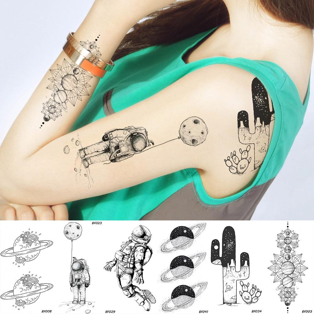 Space Man Temporary Tattoo Universe Spaceman Planets Waterproof Black Tatoos Desert Cactus Arm Sleeve Women Fake Tattoo Stickers(China)