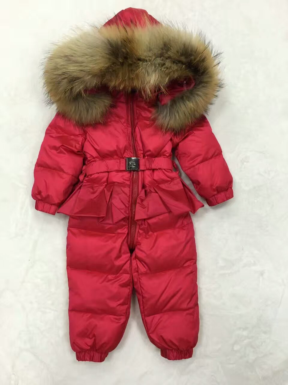 2016 Winter baby girl down coat Baby clothes print outerwear Fur Hooded children's Snowsuit down coats Child jumpsuit romper 100% white duck down women coat fashion solid hooded fox fur detachable collar winter coats elegant long down coats