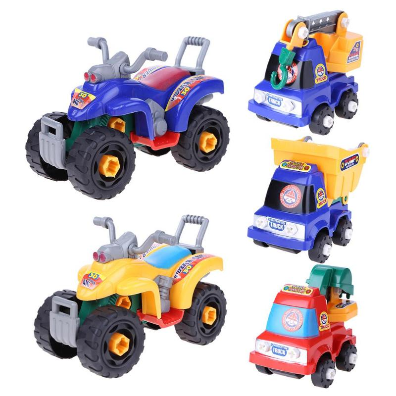 Baby Plastic Car Toy Mini Cute Disassembly Assembly Truck Engineering Car Motorcycle Model Childre Kids Educational Toys Gifts