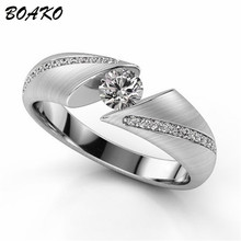 BOAKO Personalized Zircon Crystal Ring Rhinestone Love Couple Rings Silver Color Promise Engagement Rings for Women Wedding Band vnox three tone mix color rings for women love hope faith wedding band ring