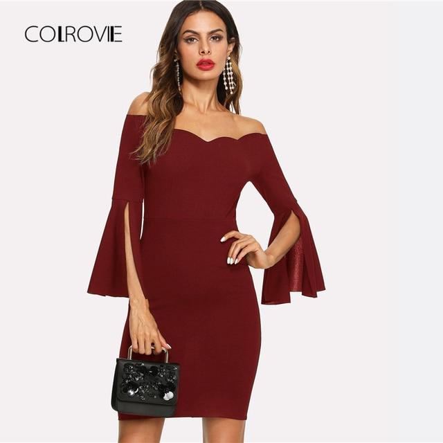 COLROVIE Burgundy Off The Shoulder Ruffle Sleeve Sexy Bodycon Dress Women  2018 Autumn Split Party Dress b0b46d01aa26