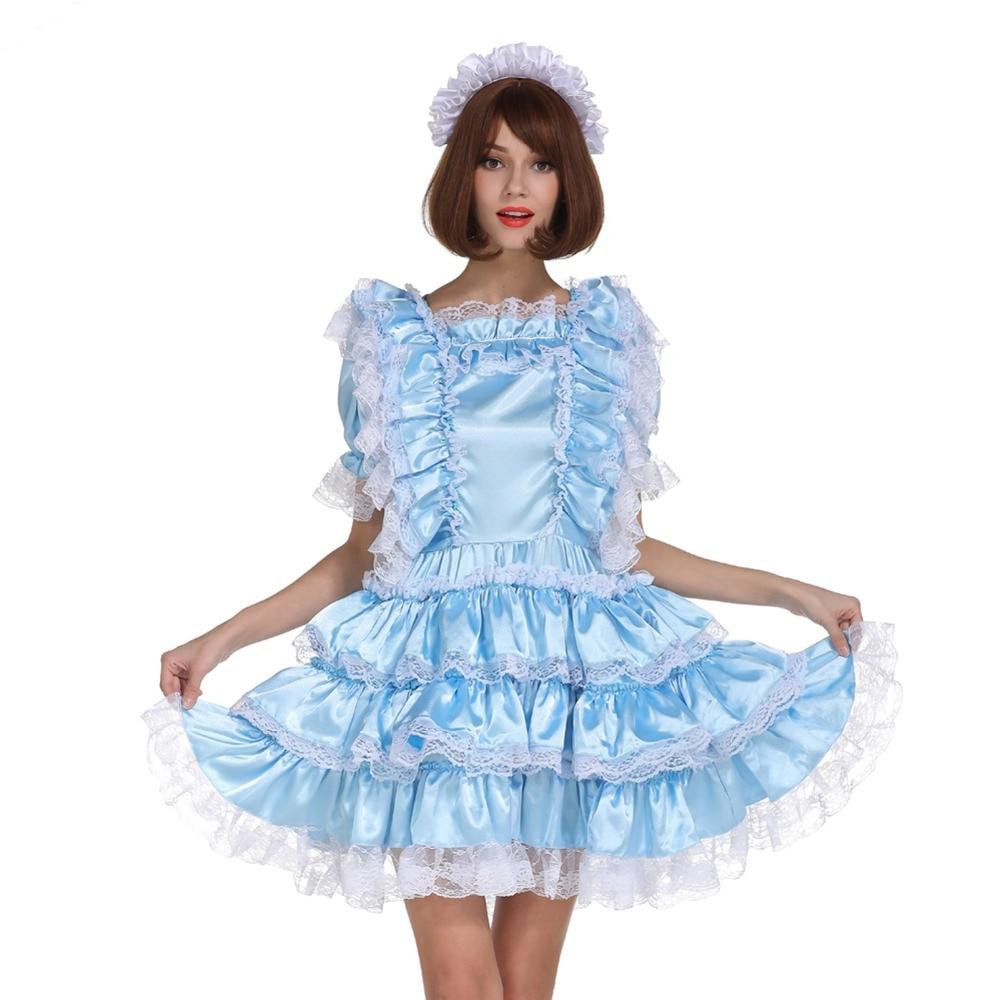 Sissy Girl Maid Shiny Satin Lockable Baby Blue Dress ...