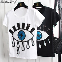 2017 New Summer Fashion Big Eyes Sequin T Shirt Women Cotton Paillette Tears T Shirt Casual