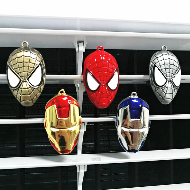 Car Styling Air Freshener Clip Air Condition Vent Perfume For The Avengers Marvel Spiderman Ironman Captain Fans FREE 2 PERFUME