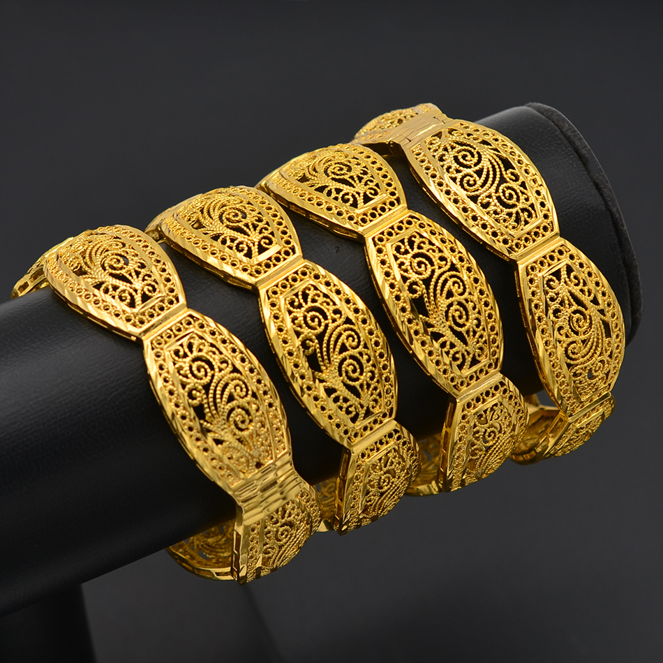Image 5 - Anniyo 4Pieces/Openable Dubai Bangles Ethiopian Bracelets&Bangles for Women African Wedding Jewelry Arabic Middle East #208406-in Bangles from Jewelry & Accessories