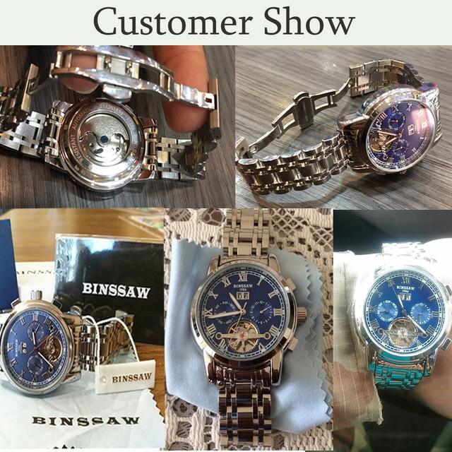 BINSSAW Automatic Tourbillon Men Mechanical Watch Brand Luxury Stainless Steel Mens Business Wrist Watches relojes masculion
