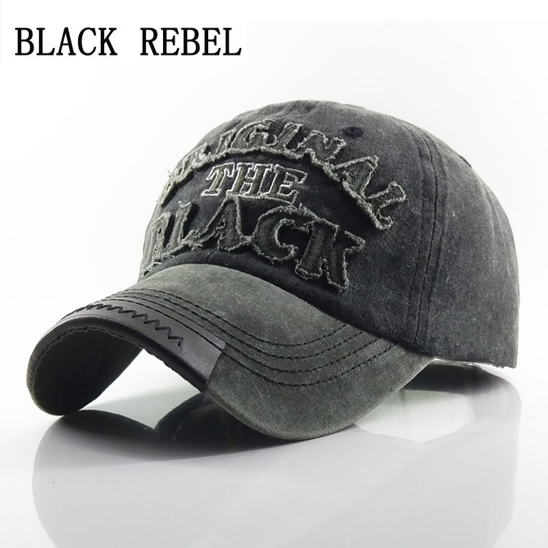 Black Rebel  Men's Baseball Cap Women Snapback Hats For Men Bone Casquette Hip hop Brand Casual Gorras original black Hat Caps