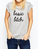 Basic Bitch Letters Print Women T Shirt Casual Cotton Hipster Shirt For Lady Funny Top Tee