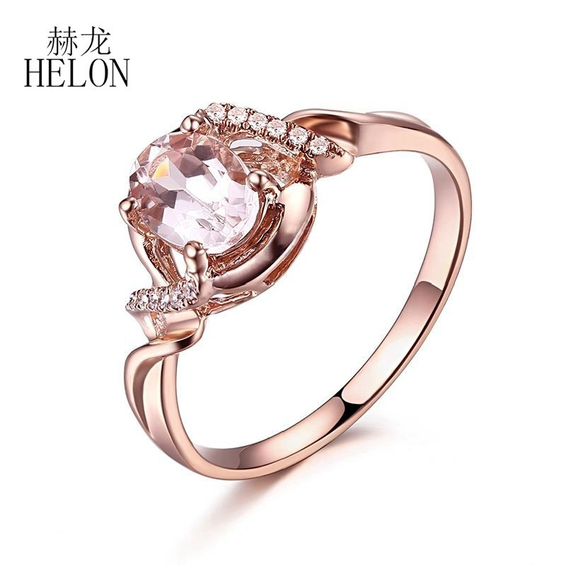 HELON Gift Solid 10K Rose Gold 0.9CT Oval 7x5mm Morganite Ring Pave Natural Diamond Engagement Wedding Fine Jewelry Women's Ring helon solid 10k rose gold oval cut 7x5mm morganite natural diamond ring engagement wedding gemstone ring gift jewelry setting