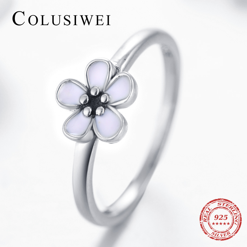 Fesyen Elegant 100% Original 925 Sterling Silver Ring Engagement Pink Enamel Jewelry Top Quality For Women Wedding Gift