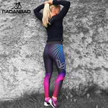 NADANBAO 2018 Wholelsales New Fashion Women Leggings Spot Digital Print Color Legins Ray Fluorescence Pant Legging