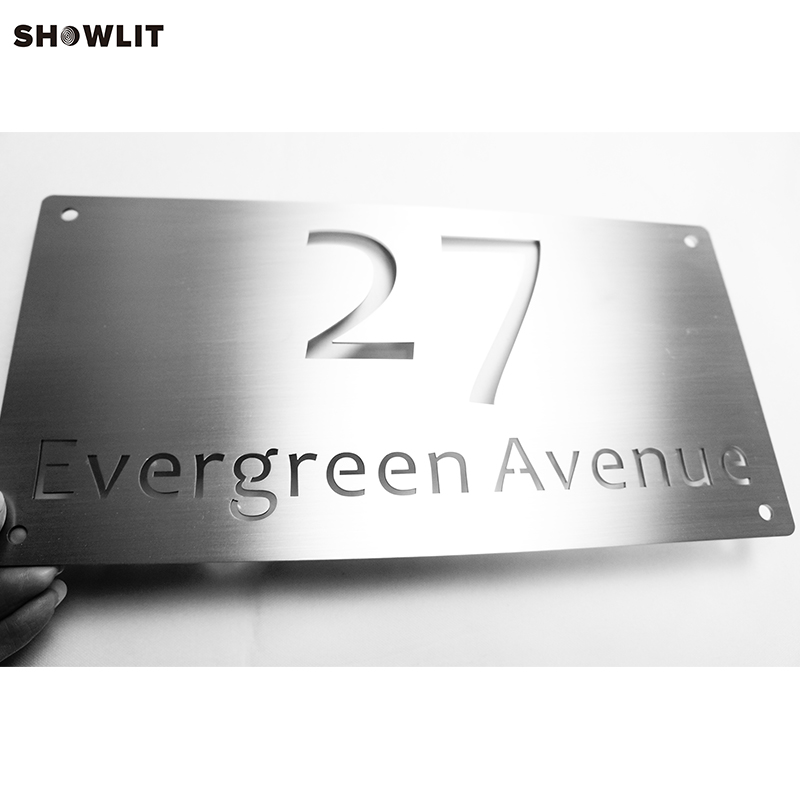 2mm thickness Custom Made Brushed Morden Outside Address Signage2mm thickness Custom Made Brushed Morden Outside Address Signage