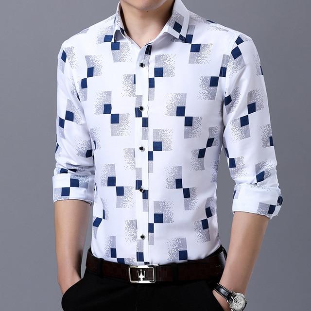b5ca50f0dd6 M-4XL NEW Snakeskin Small Plaid Men Formal Shirt Brand Long Sleeve Business  Casual Slim Fit Big Tall Social Dress Shirt for Men