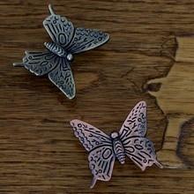 8 шт. сплава цинка бабочка кухонный шкаф ручки античный шкаф ящик обрабатывает и кнопки Eur — стиль мебельная фурнитура тянет