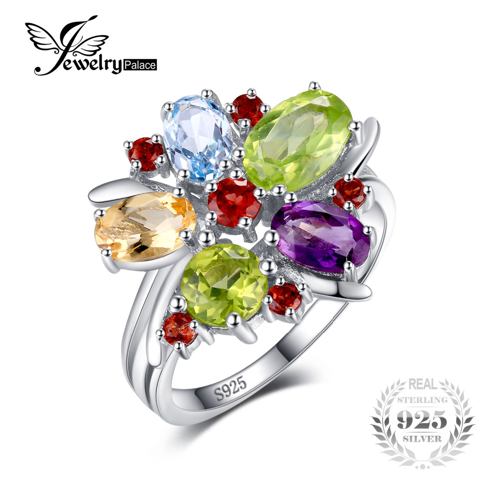 JewelryPalace Flower Multicolor 3.1ct Naturalny Ametystowy Granat Peridot Citrine Blue Topaz Cocktail Ring 925 Srebro Pierścionek