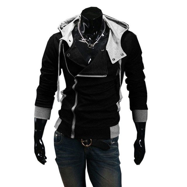 Autumn & Winter Oblique Zipper Casual Slim long sleeve hiphop  Assassin Creed Hoodies Sweatshirt Tracksuit Outerwear Jackets