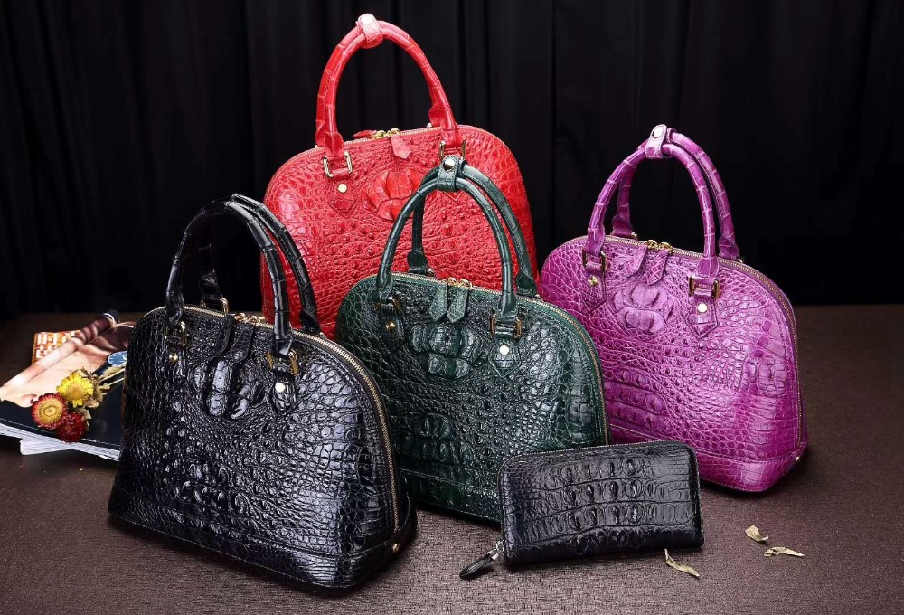 100% genuine real crocodile leather head skin women tote shoulder cross body bag shell style red green purple color medium size