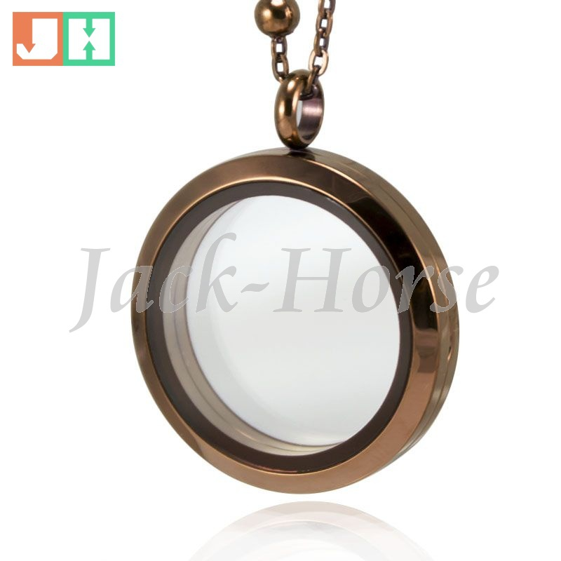 Free shipping high quality 30mm 316L stainless steel brown floating locket