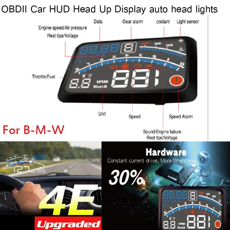 Good quality For BMW E60 E90 F10 F30 F15 E63 E64 E65 E86 E89 4E 5.5 Car OBD2 II EUOBD Car HUD Head Up Display auto head lights hot 4e car hud auto 5 5 hud head up display windscreen projector obd ii euobd car data diagnosis for audi volvo bmw honda