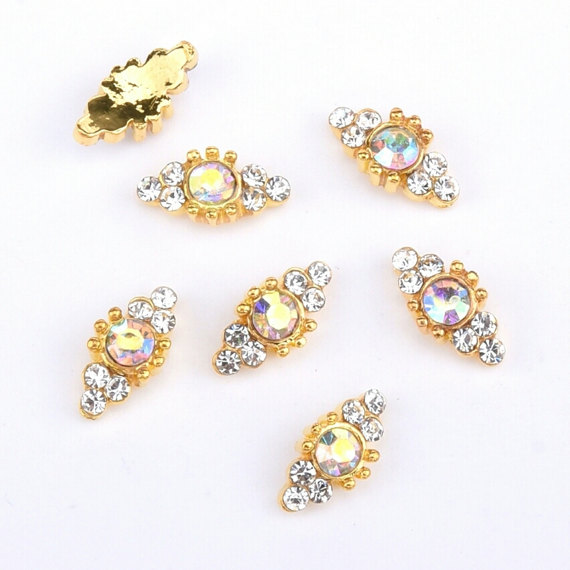 10PCS Lot Super 5 x 10 mm Alloy High Grade Pink Diamond And Rhinestone 3d Metal AB Round Crystal Nail Charms Nail Jewelry in Rhinestones Decorations from Beauty Health
