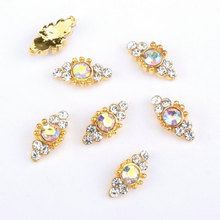 4PCS/Lot Super 5 x 10 mm Alloy High Grade Pink Diamond And Rhinestone 3d Metal AB Round Crystal Nail Charms / Jewelry
