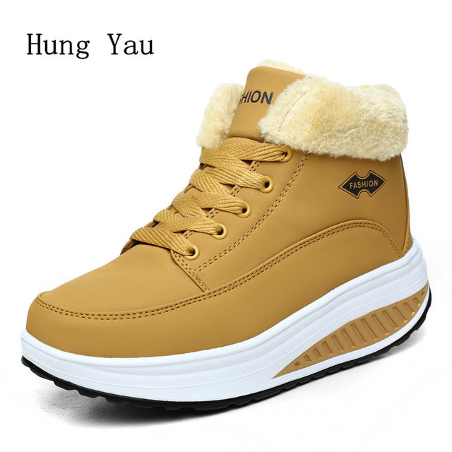Hung Yau Women Ankle Boots Square Heel Casual Shoes Woman