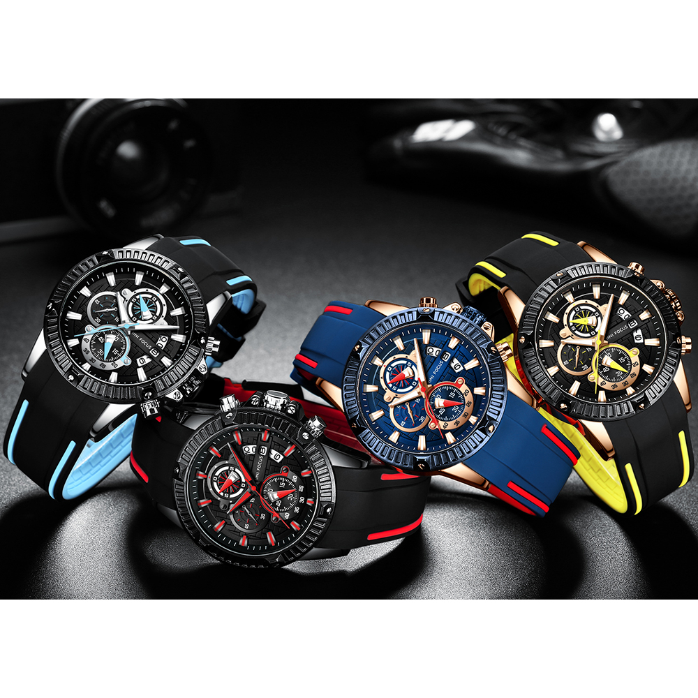 Mini Focus 2019 Man Fashion Watch Blue Rose Gold Rubber Strap 3D Bolt 3 Dials Waterproof Top Brand Luxury Sports Mens Watches in Quartz Watches from Watches