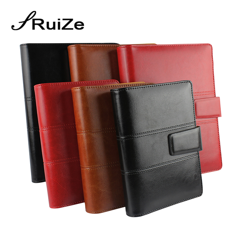 RuiZe Fashion Magnetic buckle A5 spiral notebook leather planner agenda organizer note book A6 ring binder office stationery недорого