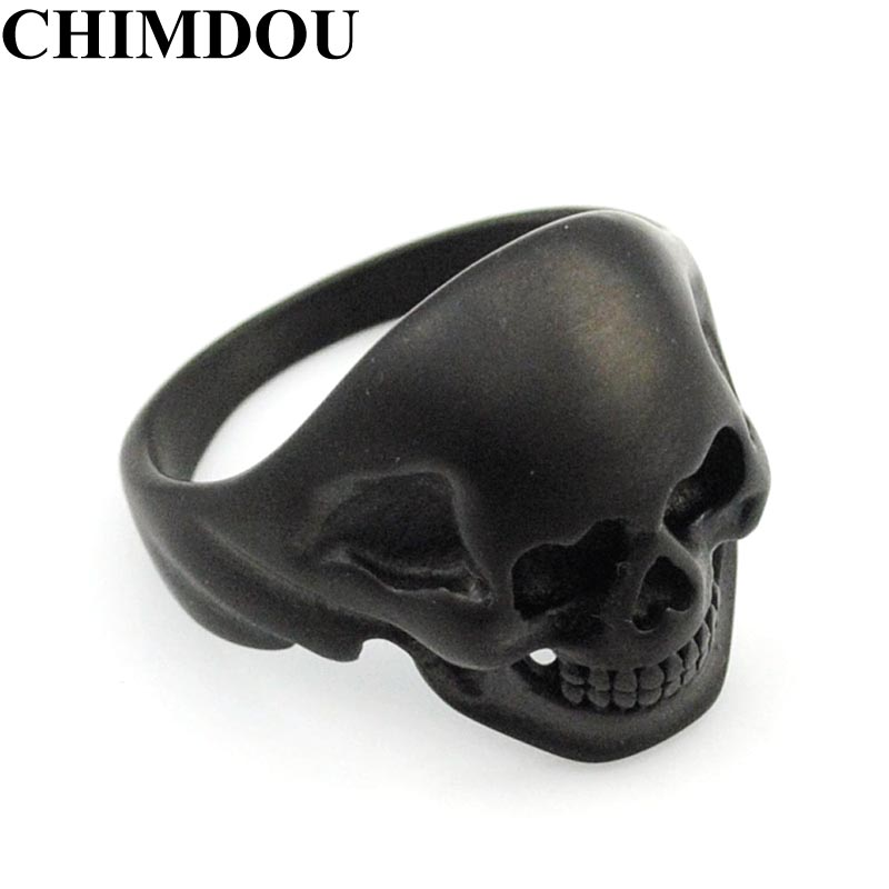 CHIMDOU 2017 Black Stainless Steel Punk Party Funny Heart Eye Skull Ring Men's Jewelry,AR379
