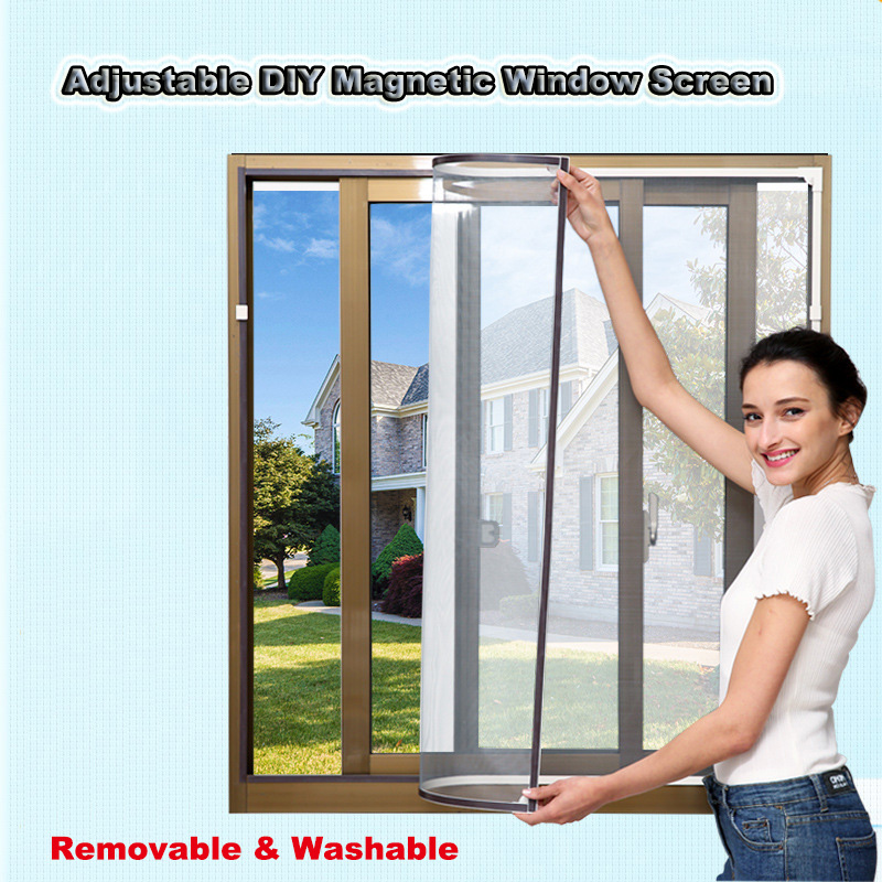 Invisible Fly Mosquito Screen Net Mesh Adjustable DIY Customize Magnetic Window Screen Windows For Motorhomes Removable Washable