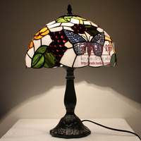 12 Inch butterfly Stained Glass Lampshade Tiffany Table Lamp Country Style Bedside Lamp E27 110 240V