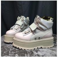 Кожаные женские повседневные ботинки, крючок, петля женские кроссовки на шнуровке Платформа Женская обувь на плоской подошве молния sapato