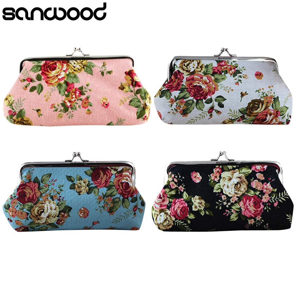 2015 Women's Coin Purse Money Bag Case Wallet Keys Card Pouch Big Flower Pattern Hasp  6O3H new big brothers money cigarette card case box holder