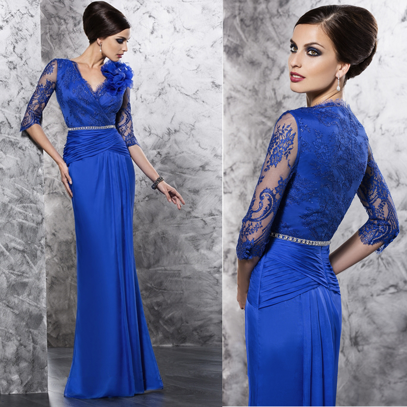 Royal Blue Chiffon Lace Fashion Mother Of The Bride dress ...