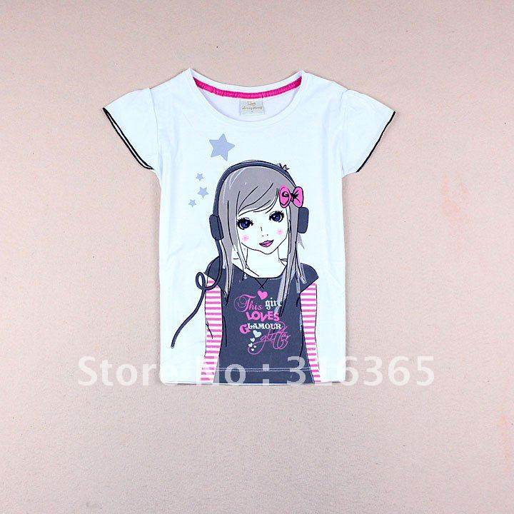 d97de833 Cute girls T-shirt, girls' tee, puff sleeve and printing pattern, baby girl  clothes, 3pcs/lot