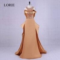Elegant Women Gold Evening Dress 2018 Plus Size Robe Soiree Bling Bling Beading Prom Dresses Long
