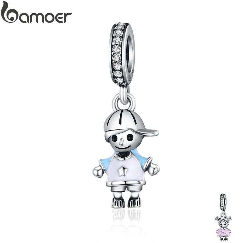 bamoer New 100% 925 Sterling Silver Couple Little Girl & Boy Pendant Charm fit Girls Charm Bracelet DIY Jewelry SCC544(China)