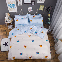 wholesale Cartoon birds and animals cat Bedding Set 4pc Duvet Cover Sheet Pillow cover Single queen size Winter four piece set