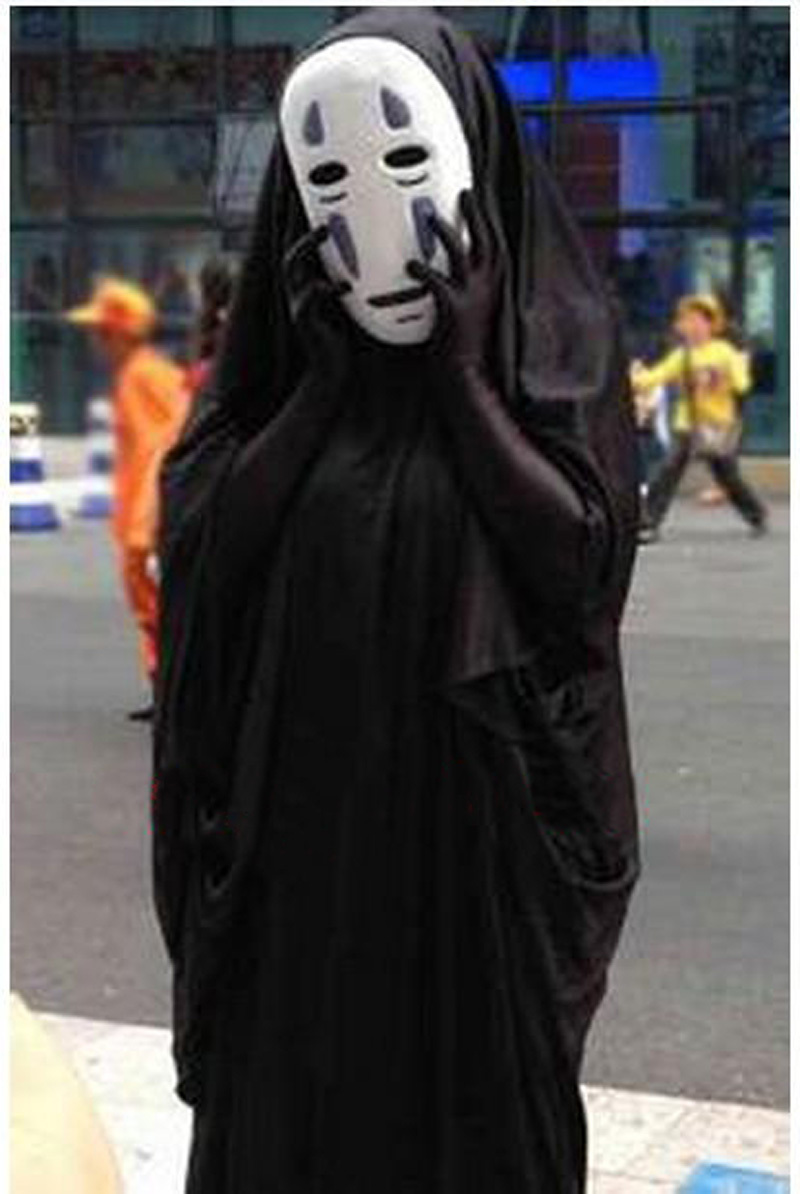 Spirited Away Cosplay costume My name is Chaos Toy Figures Halloween Party props + none face PVC Mask + Black Gloves