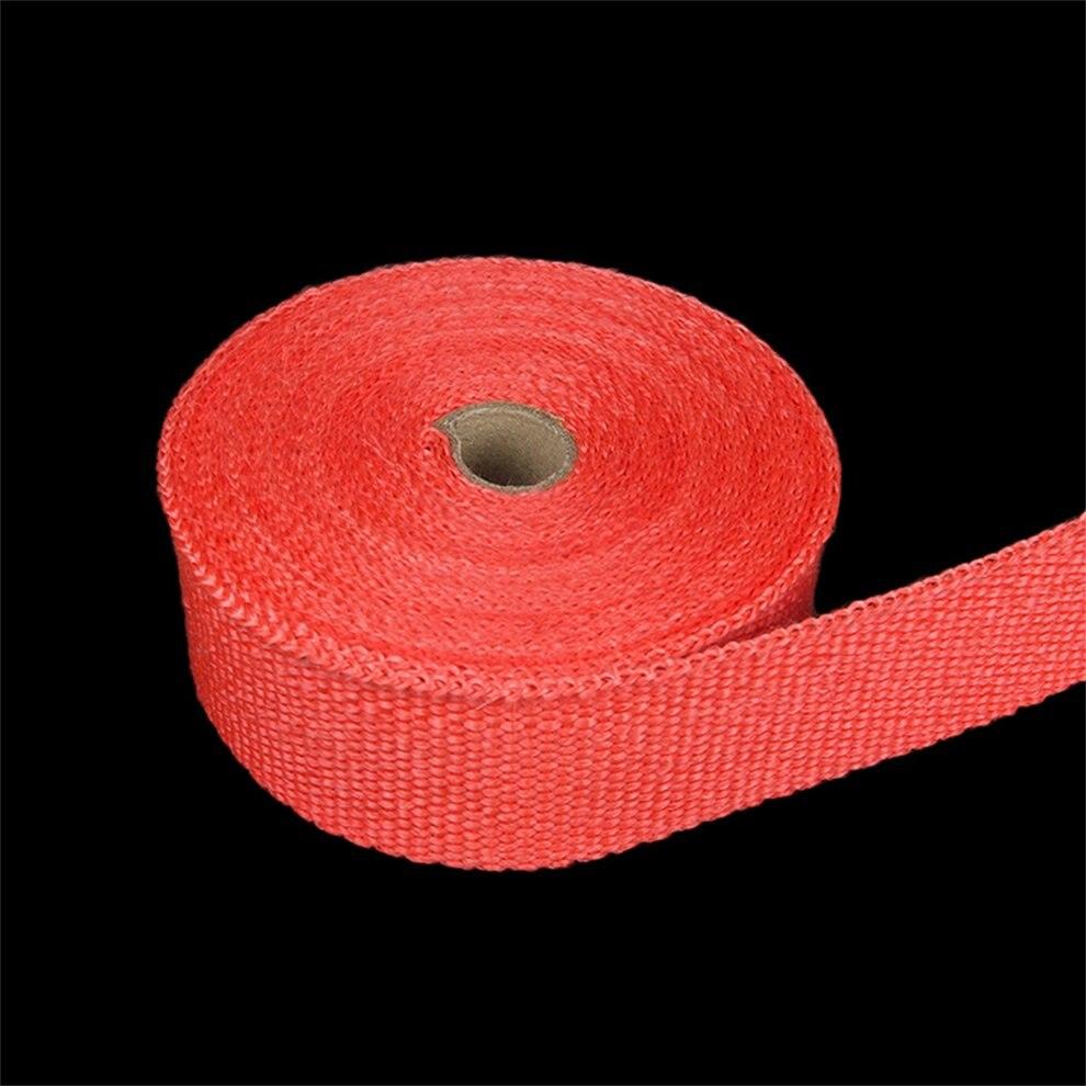 Roll Fiberglass Exhaust Header Fiberglass Heat Wrap Tape With 6 Ties Kit Exhaust Manifolds Headers Supplies 1.5mm*50mm*5m Red