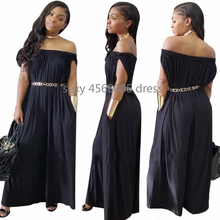 new style African Women clothing Dashiki fashion elastic Pure color loose off shoulder jumpsuit There is no belt size S-3XL 7075(China)