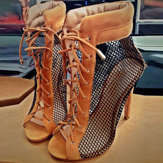 hot selling sexy grid patchwork ankle boots open toe lace-up sandal boots summer high heel boots for woman gladiator boots 2017 fall winter blue denim short sandal boots front back lace up open toe ankle boots brown black high heel high top sandals