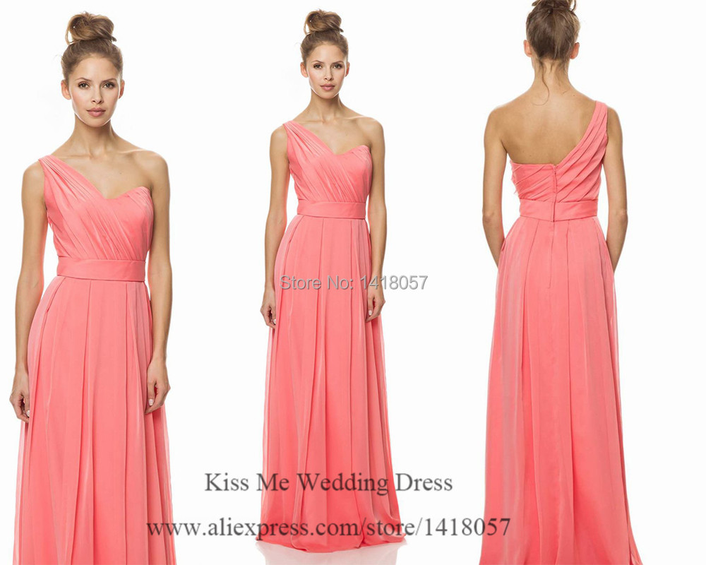 Coral Peach Bridesmaid Dresses Long Wedding Party Dress One Shoulder ...