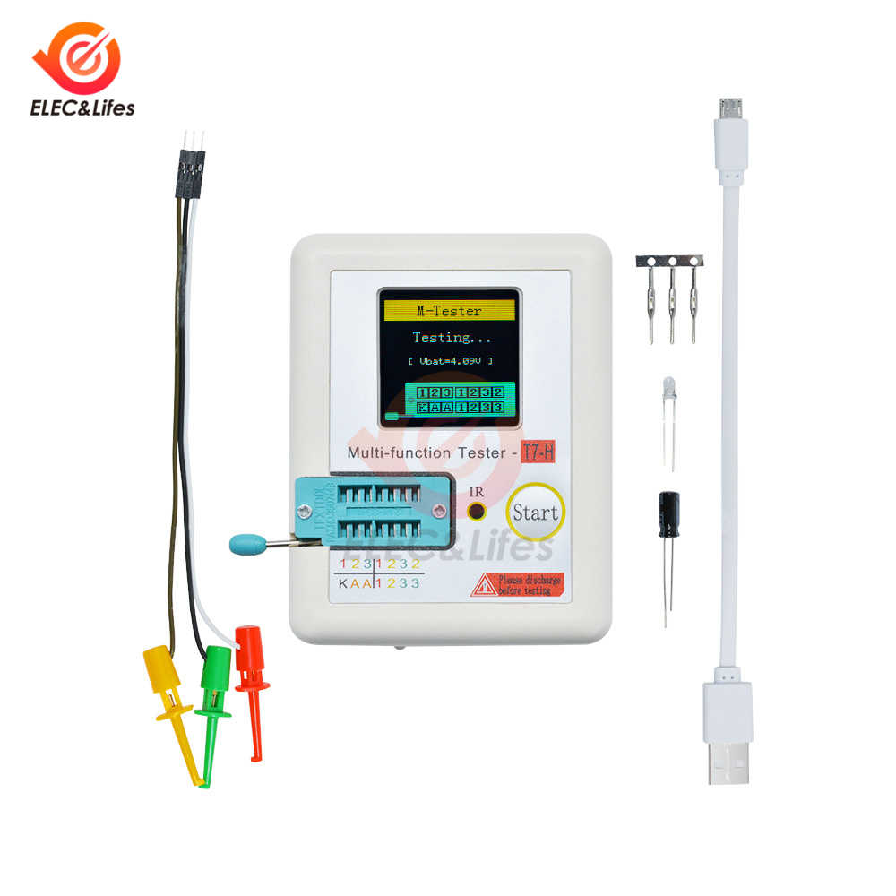 TC-T7-H TFT Graphic LCD Digital Transistor Tester NPN/PNP Diode Triode Capacitance Resistance Meter IR receiver Multimeter T7
